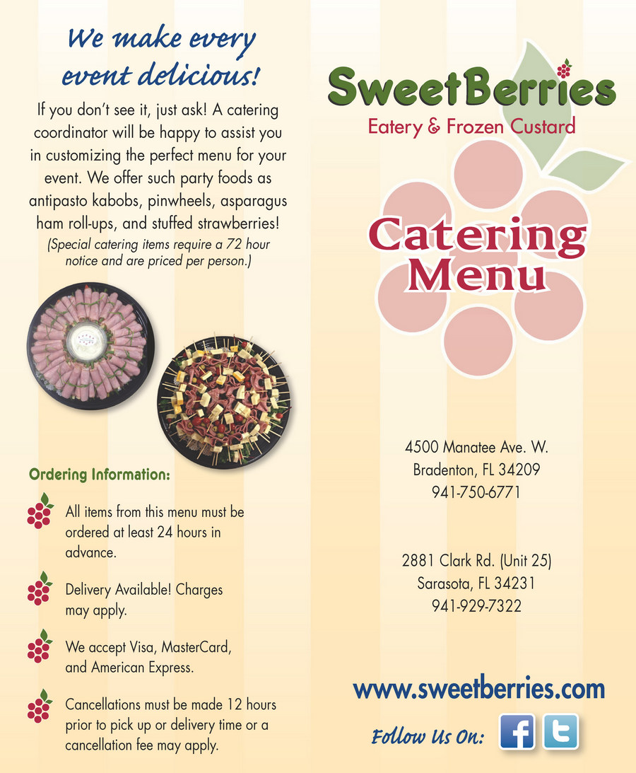 Bradenton SweetBerries Catering Menu - Page 1