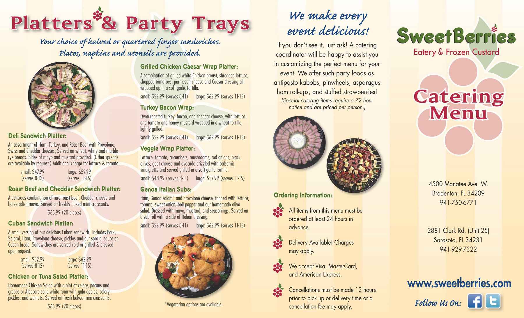 Bradenton SweetBerries Catering Menu