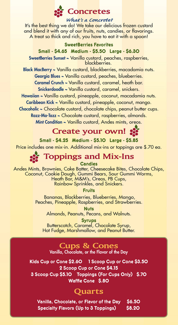Sarasota Sweetberries Custard Menu - Page 1