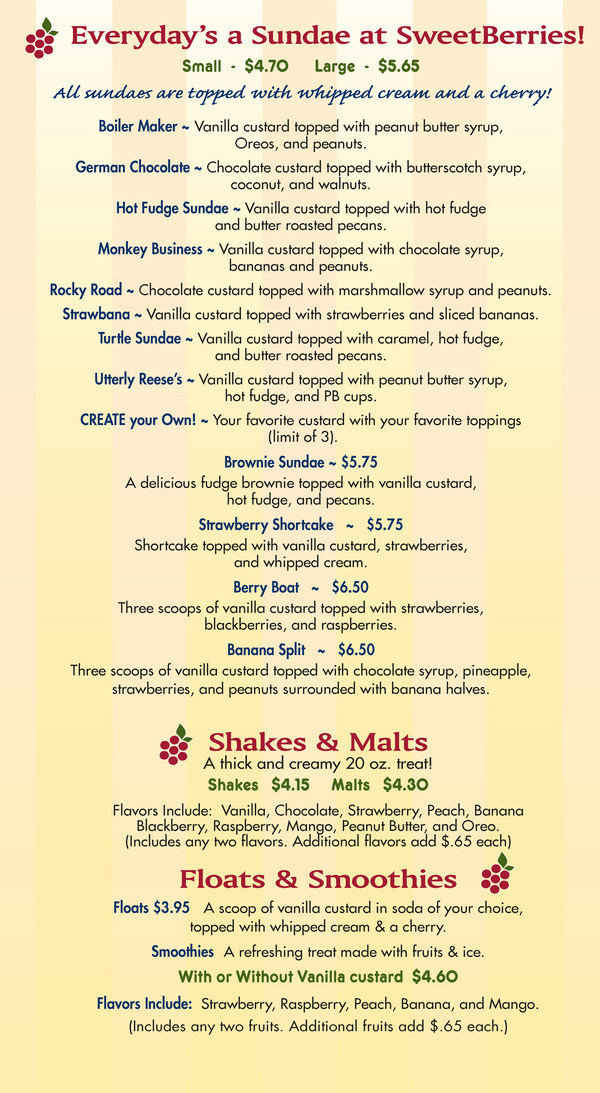 Sarasota Sweetberries Custard Menu - Page 2