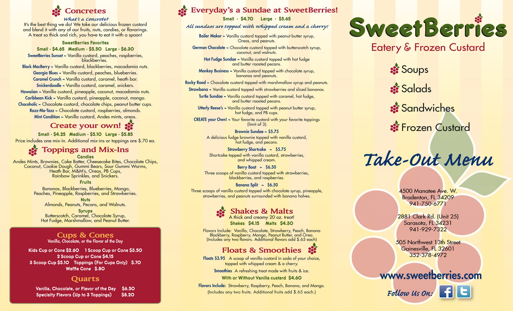 Bradenton SweetBerries Custard Menu