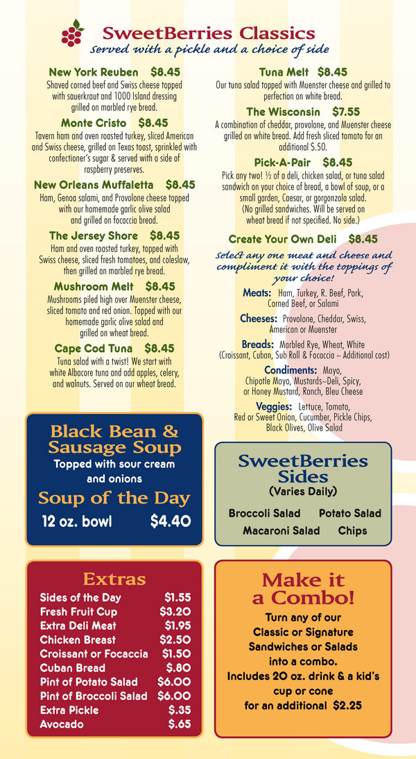 Sarasota SweetBerries Food Menu - Page 1