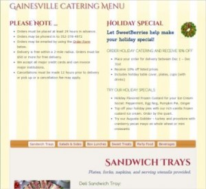 Gainesville SweetBerries Catering Menu